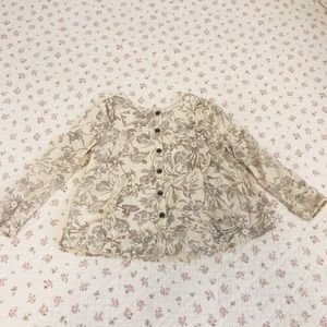 French floral print toddler blouse Sz 3t
